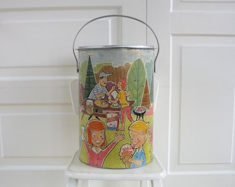 Vintage Drink Cooler, Metal Cooler, Picnic Storage, Insulated Cooler, Party Decor, Outdoor Storage, Camping