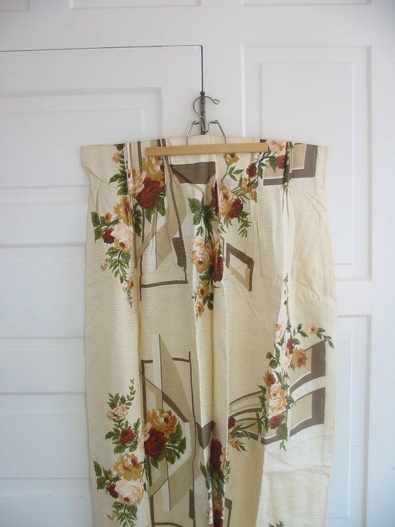 Vintage Curtains Drapes Flowers Roses Girl White Tan Brown