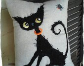 Black Cat Hand Embroidered Pillow Halloween made to order only YelliKelli