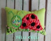 Ladybug Hand Embroidered Mini Pillow Ready to Ship