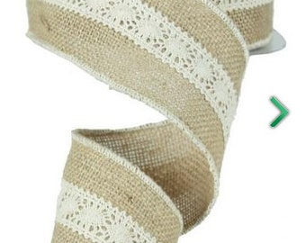 """Burlap/Jute w/Lace Wired Ribbon - 2.5""""x10 yards-Valentines Day/ Mothers Day/Weddings"""