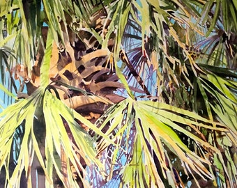"""LARGE painting Original watercolor palm tree wall art by Paige Smith-Wyatt ready to hang 30"""" x 40"""""""