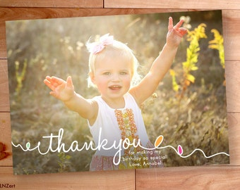 Kids Thank You cards, Childrens Thank You Cards, Birthday Thank You, Custom Thank You photo Card, Swirls, Loops, Rainbow, Color Balloons