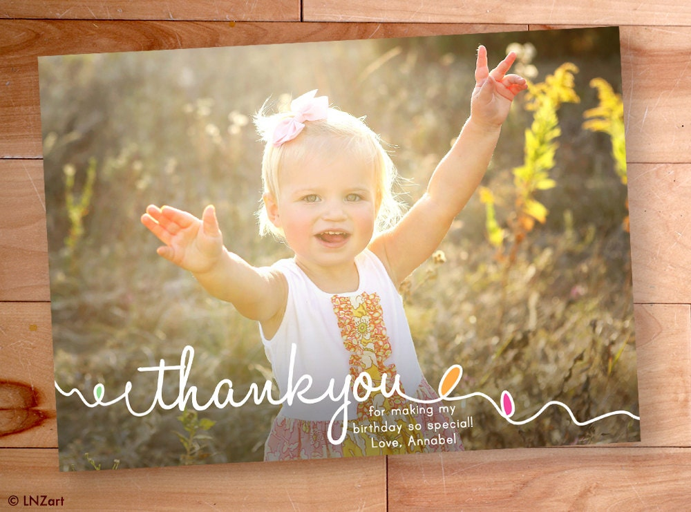 Kids Thank You cards Childrens Thank You Cards Birthday – Personalized Birthday Thank You Cards