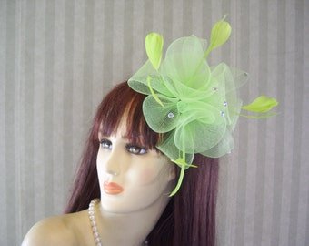 "Kentucky Derby Fascinator, Easter, Tea, Wedding Hat, Preakness Fascinator, ""MINT JULEP"""