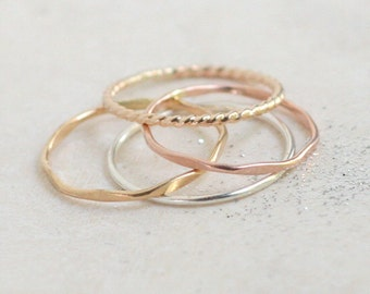 stacking ring set. SILVER & GOLD stacking rings. FOUR mixed metal stack rings. minimalist rings. sterling silver, yellow, rose gold rings.