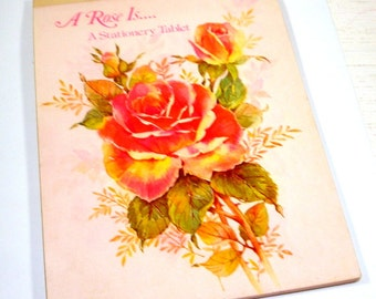 """Vintage Stationery Tablet, A Rose Is, Letter Writing, Note Paper Pad, 6"""" x 8"""" Lined Sheets,  31 Decorated Sheets, Flowers   (957-15)"""