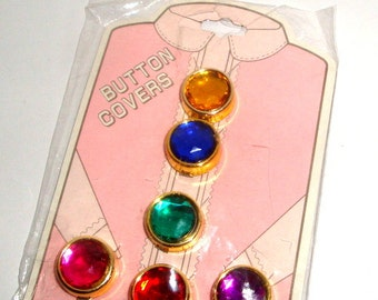 Vintage Button Covers, Faux Gem Stones, Set of 6 Jewels, Gold Tone, Original Unopened Package, New Old Stock, Made in Taiwan  (21-16)