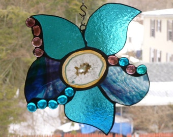 Aqua blue turquoise  and Purple Brazilian Agate Slice stained glass Flower