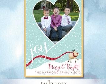 Joy Heart Rudolph - Holiday Photo Card - PRINTABLE