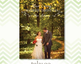 Very Married Rustic Wedding Christmas Photo Card - Holiday Photo Card - PRINTABLE