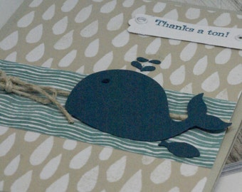 Nautical Thank You Card, Handmade Thank You Card,  Thanks a Ton, Cute Thank You Card, Whale Notecard, Big Thank You Card, Sea Animal Card