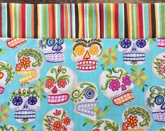 Day of the Dead Tablecloth / Table Runner Turquoise Sugar Skulls  Sarape Stripe Ofrenda