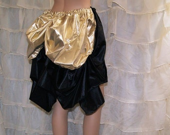 Gold Lamé Foil Black Satin Mid Length Bustle Wrap MTCoffinz - All Adult Sizes - Ready to Ship