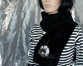 Dark Grey Silver Skull Full Moon Embroidered Black Scarf MTCoffinz - Ready to Ship Sample Sale