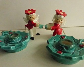 Rescued Vintage Christmas Candle Holders with Angel Candle Huggers from Comodore Japan