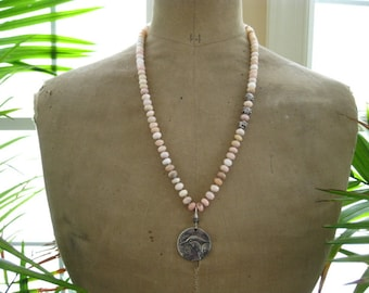 Boho Hand Knotted Silk Gemstone Necklace-Pink Peruvian Opal