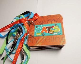 Cat Mini Album, Cat Scrapbook, Premade Album, Chipboard Album, Cat Brag Book, Cat Photo Album, Cat memory Book, Kitty Cat Album, Cat Album