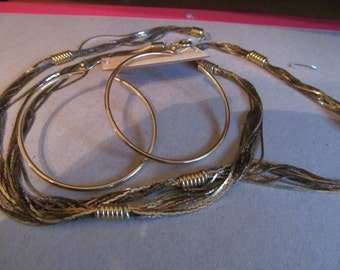 gold colored necklace w/ hoops post