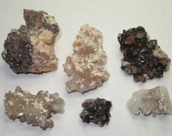 Set of 6 - Rare Orange River Quartz Phantom Inclusions Crystal Point Clusters From South Africa