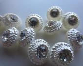 Vintage Buttons - 12 beautiful matching small glass and rhinestone design, white, milk glass, Czechoslovakia  (feb 404b)