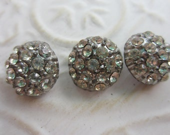 Vintage Button - 3 beautiful matching domed design rhinestone embellished, silver antique finish metal (lot apr64b)