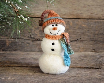 Snowman - handmade - needle felted- one of a kind -  723