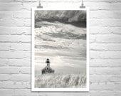 Block Island, Vertical Wall Art, Lighthouse, Photography, Rhode Island, New England, Sepia Art, Sky and Clouds, Murray Bolesta
