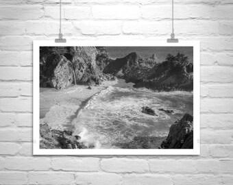 Big Sur Print, Black and White, Beach Photography, California Cost, Ocean Seascapes, California Art, Waterfalls, McWay, Ocean Waves Art