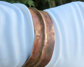 Hand Forged Copper Cuff Bracelet Fold Formed with Flame Painted Patina