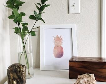 Watercolor Pink/Purple Pineapple Wall Print - Summer 16 Series