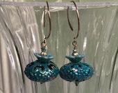 Teal Patina  Copper Filigree Dangle Earrings   Boho Earrings  Gypsy Earrings  Patina   Something Blue  Moroccan