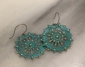 Turquoise Patina  Round Filigree Medallion  Earrings   Boho Earrings  Gypsy Earrings  Patina Brass Filigree
