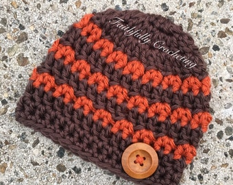 Newborn beanie.. Orange and chocolate brown.. Wood button.. Photography prop.. Ready to ship