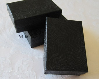 Black Boxes, Black Gift Boxes, Jewelry Gift Boxes, Jewelry Box, Kraft Boxes, Favor Boxes, Small Boxes, Cotton Filled 3 x 2 1/8 x 1 Pack 20