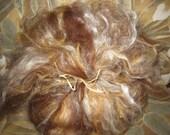 Alpaca Silk Batt, Brown Marigold White Soft Batt, Spinning Silk and Alpaca, Needle Felt Batt, Soft Roving Alpaca and Silk, Unique Batt
