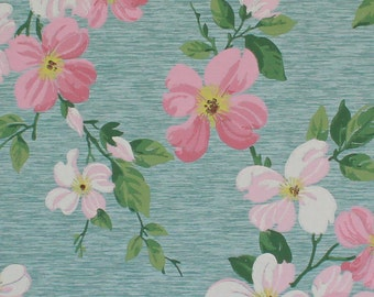 1940s Vintage Wallpaper Pink and White Dogwood Flowers on Aqua by the Yard