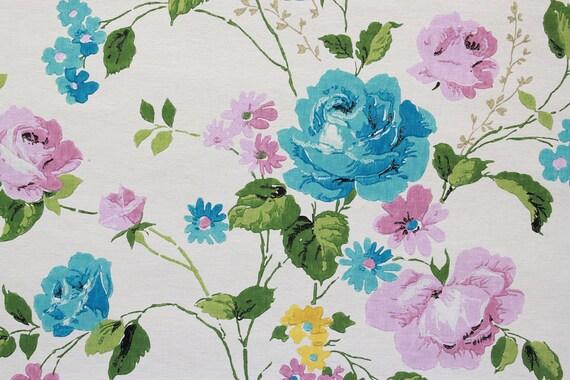 60er Vintage Tapete blaue und lila Rosen von der Werft
