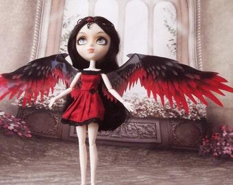 1/6 OOAK Angel Wings for dolls  - Red Black