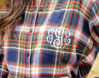 Monogrammed Plaid Flannel Shirt - Harvest, Personalized Flannel Shirt, Gift for Her, Christmas Gift, Winter Fashion