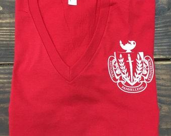 Panhellenic Crest American Apparel V Neck, Panhellenic Crest tee, Panhellenic Shirt, Panhellenic Tee, Panhellenic Crest