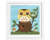 94 Owl Nursery Print - Mom and Baby Owl on Tree Stump Wall Art - Owl Home Decor - Woodland Nursery Wall Art - Woodland Baby Room Wall Art