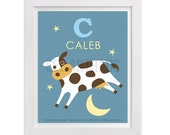 55P Cow Print - Personalized Letter C Cow Jumping Over Moon Wall Art - Cow Art - Baby Boy Nursery Room Decor - Animal Art - Art for Children