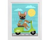 95D - Dog Print - Tan French Bulldog on Green Vespa Wall Art - Vespa Print - Funny Dog Print - French Bulldog Print - Dog Prints - Vespa Art
