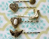 5 golden button hair bobby pins,silver hair bobby pins,boot,cherubs,hearts,buttons,hair pins,gold button hair pins,women,teens,graduation