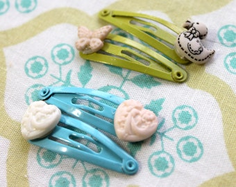 4 blue green baby snap clips,butterfly,duck,heart,baby snap clips,duck snap clip,butterfly snap clip,heart snap clip,stocking stuffer,baby