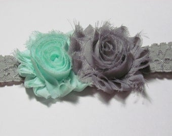 Gray Lace Elastic Headband w/ Mint and Gray Frayed Shabby Chic Hair Flowers - teen adult  Ready To Ship