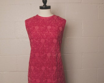 Vintage 1960's Embroidered Shift Dress Margot Barry Cotton M 38 bust