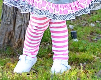Bright Pink and White Striped Leggings