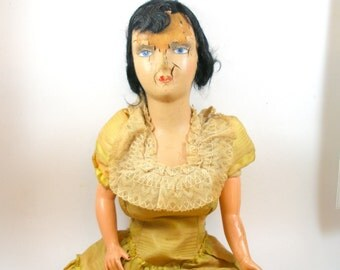 1930s Zombie French boudoir DOLL in yellow & pink dress, creepy cute fun.